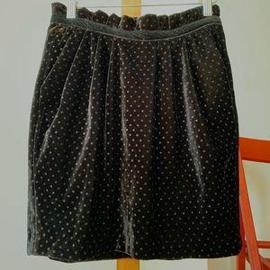 Zara Velvety Dotted Pumpkin Skirt!